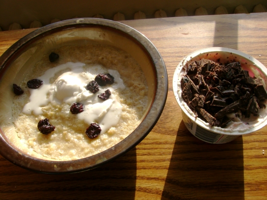 Coconut Milk Oatmeal With Dried Cherries, Chocolate Cherry Greek Yogurt