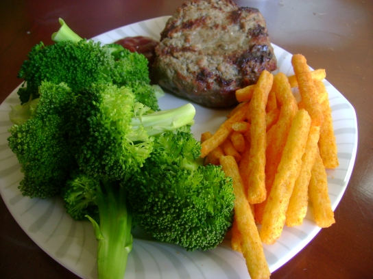 Grass-Fed Burger, Broccoli, Ketchup Fries