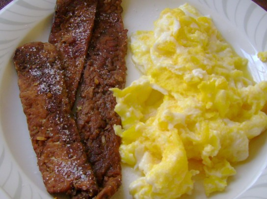 Eggs And Tempeh Bacon