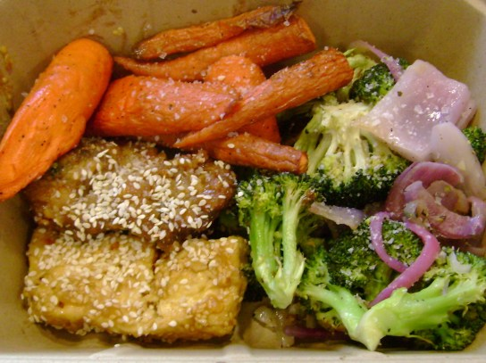 Roasted Carrots And Broccoli, General Gao's Chicken, Golden Sesame Tofu