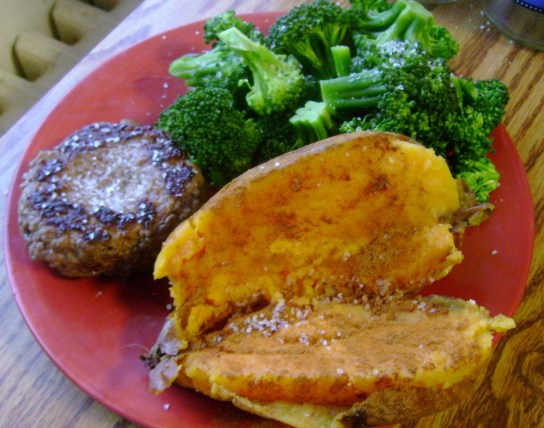 Grass-Fed Burger, Roasted Sweet Potato With Sea Salt And Cinnamon, Garlic Broccoli