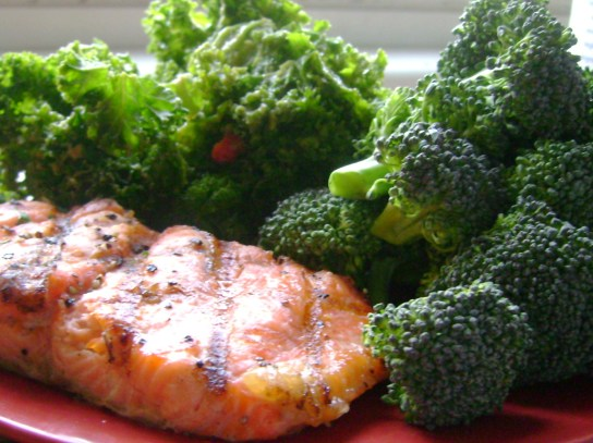 Citrus Salmon, Kale Avocado Salad, Raw Broccoli With Lemon