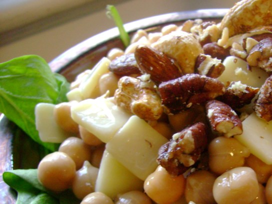 Chickpea And Cheddar Salad With Maple Glazed Nuts And Syrup