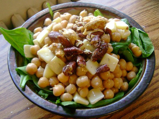 Chickpea And Cheddar Salad With Maple Syrup And Maple Glazed Nuts