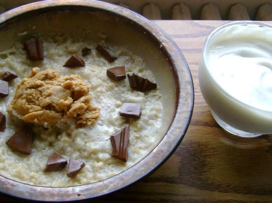 Oatmeal With Milk Chocolate And Peanut Butter, Vanilla Greek Yogurt