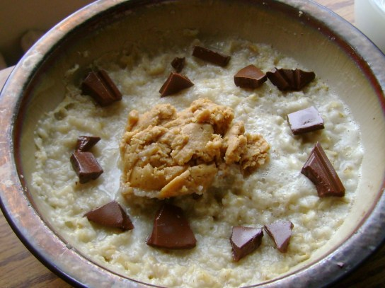 Oatmeal With Milk Chocolate And Peanut Butter