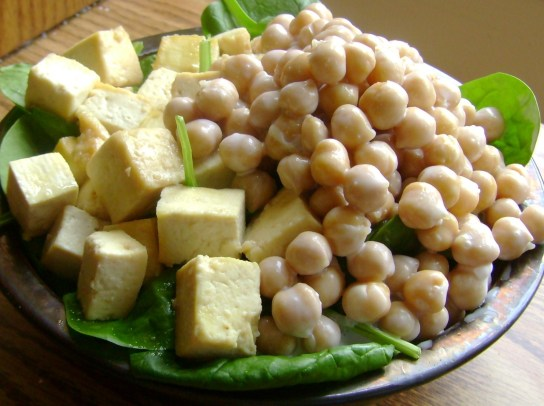 Maple Tofu And Coconut-Maple Chickpeas Over Spinach