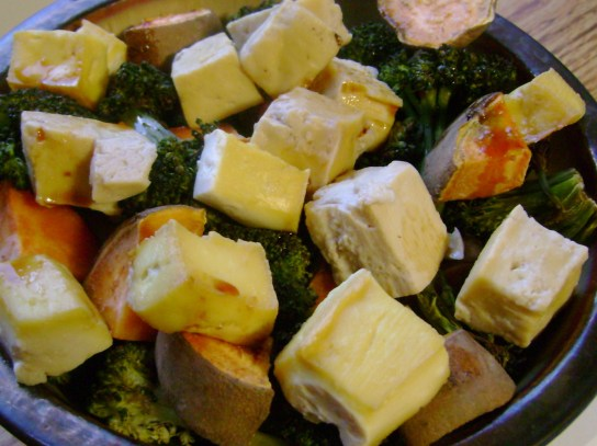 Roasted Broccoli And Sweet Potato, Maple Baked Tofu, Soy Sauce