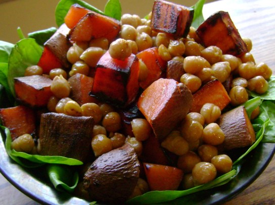 EVOO Seared Sweet Potato And Chickpeas
