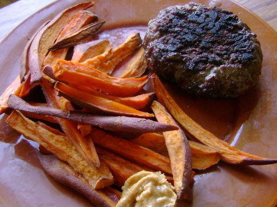 Burger, Sweet Potato Fries, And Mighty Maple