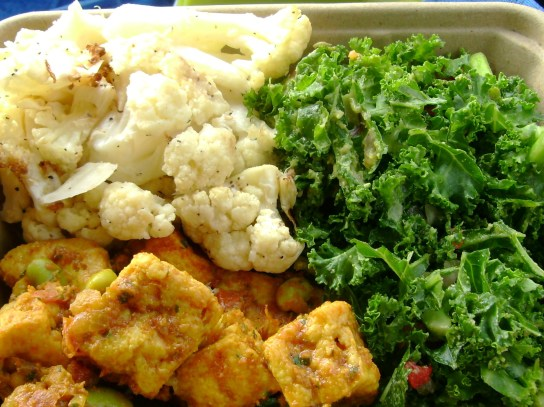 Kale Avocado Salad, Roasted Cauliflower, Indian Tofu