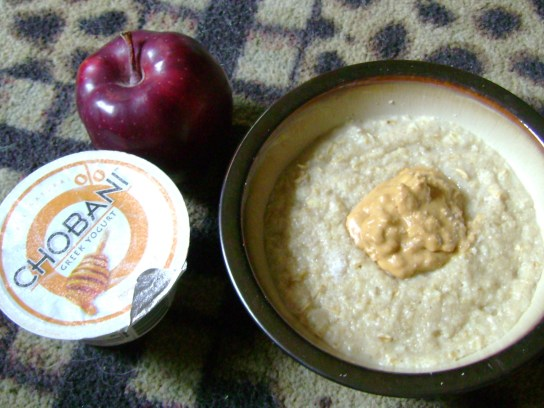 Crunchy PB On Oats, Honey Chobani, Apple