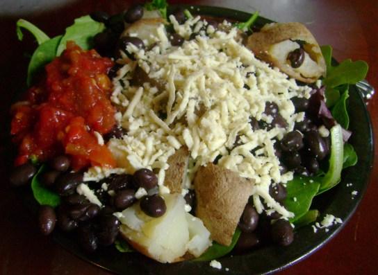 Black Bean And Potato Salad With Daiya And Salsa
