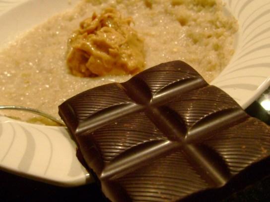 Oatmeal With Chunky PB And Organic Dark Chocolate
