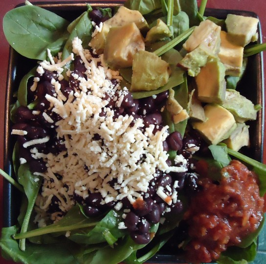 Black Beans, Daiya, Avocado, Salsa, And Spinach