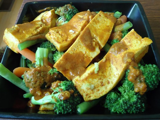 Yellow Curry Tofu Over Vegetables