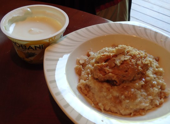 Pineapple Chobani, Oatmeal With Crunchy PB, Maple Syrup, And Maple Butter