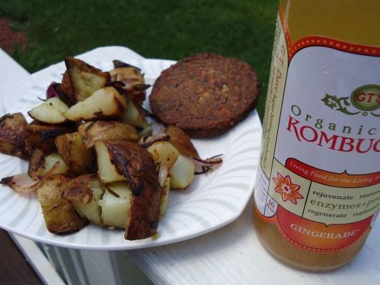 Home Fries, Veggie Burger, Gingerade Kombucha