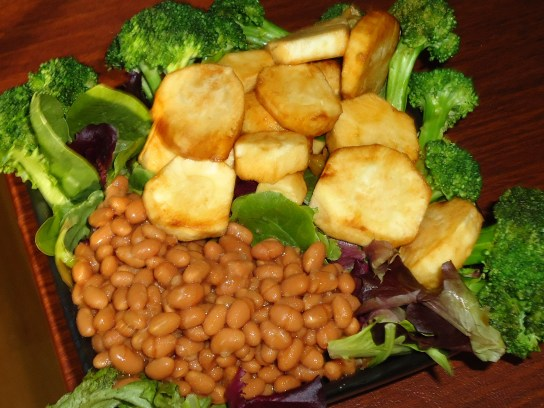 Baked Beans, Broccoli And Turnip In Soy Sauce