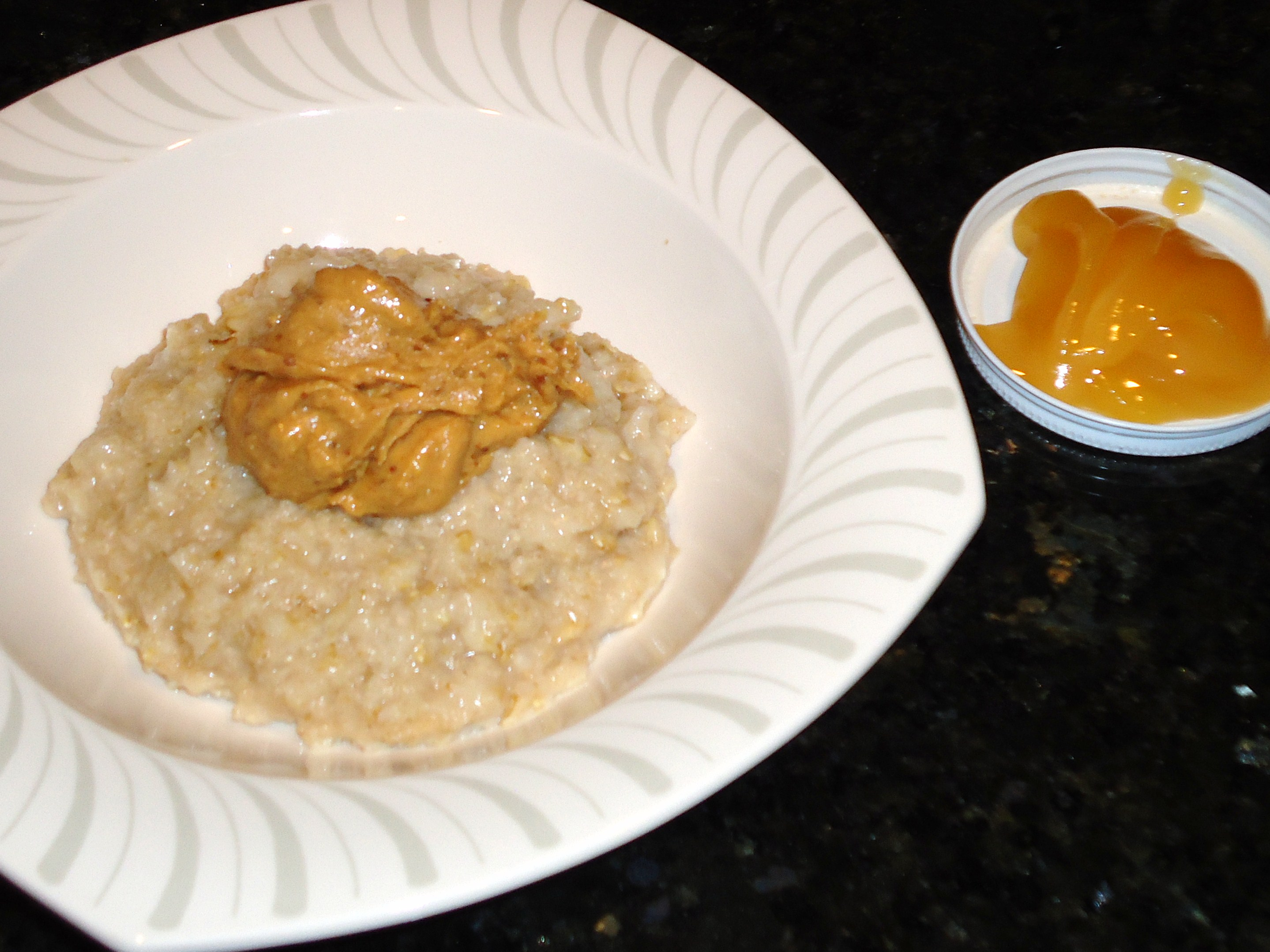 Oatmeal With Butter Toffee Peanut Butter, Local Raw Honey