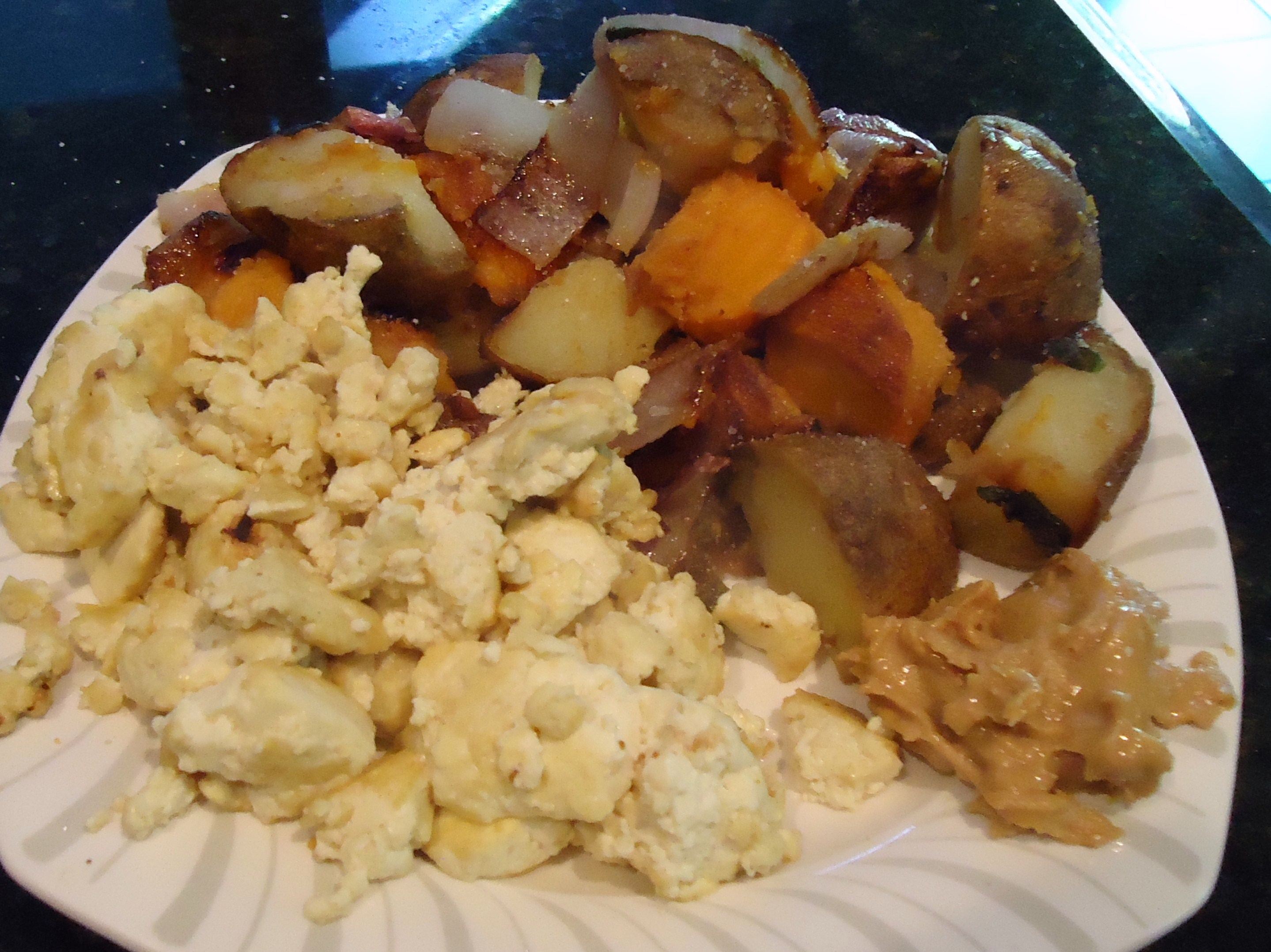 Sweet Potato And Potato Home Fries With Basil, Scrambled Tofu, Mighty Maple