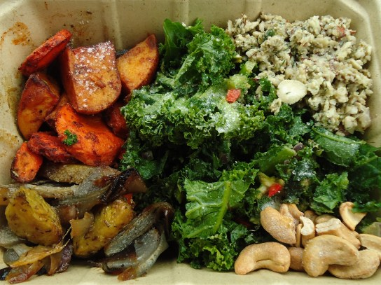 Roasted Potato Options, Kale Avocado Salad, Raw Vegan Tuna Salad