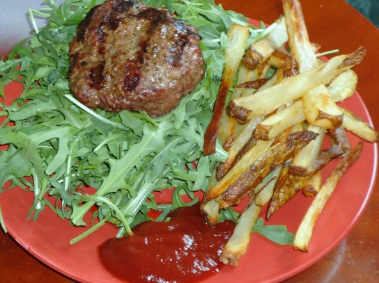 Grass-Fed Beef Burger Over Arugala, Baked Potato Fries