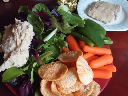 Hummus Salad With Raw Veggies And Hummus Chips
