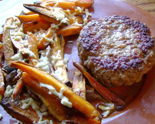 Grass-Fed Burger, Sweet Potato Fries With Mozzarella Daiya