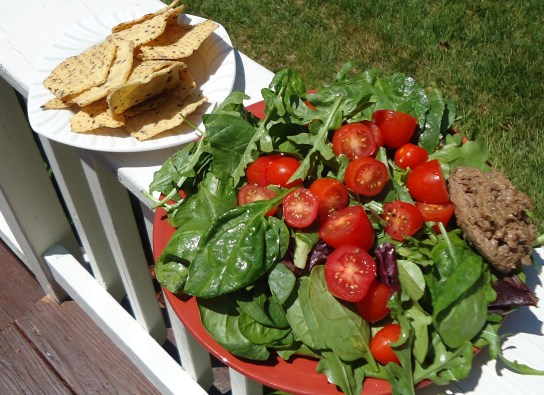 Raw Salad With Cherry Tomatoes And Olive Cashew Cheese, Multigrain FTSG Chips
