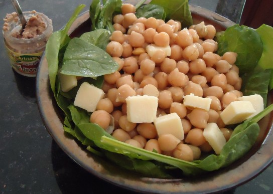 Chickpea-Raw Mozzarella Salad, Raw Almond Butter