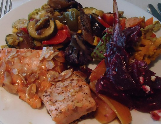 Mixed Colored Vegetables, Beets And Golden Beets, Almond Encrusted Salmon