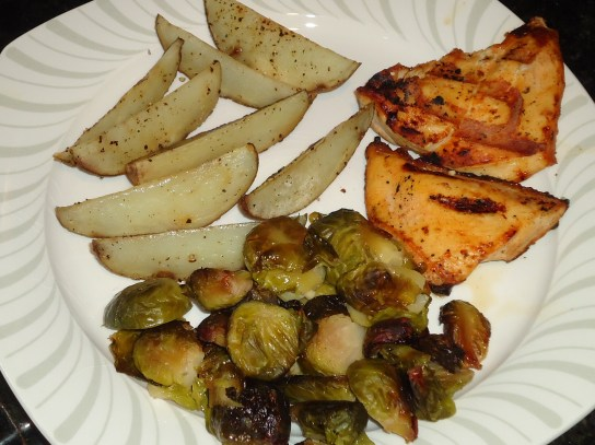 Seasoned Fries, Roasted Brussels, Chipotle Chicken