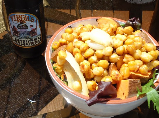Olive Oil Seared Chickpeas, Grilled Sweet Potato Chunks, Onion, And Spinach Salad, Root Beer