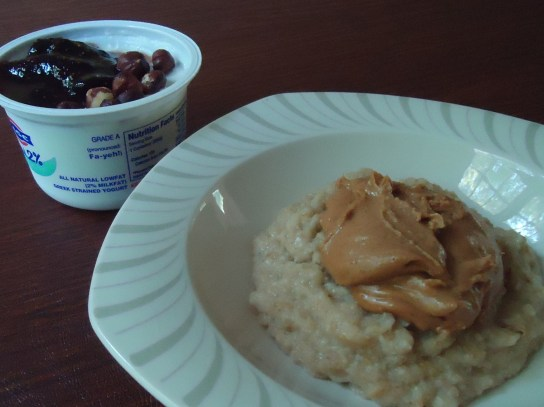 Oatmeal With Almond Butter, Fage With Fig Jim And Hazelnuts