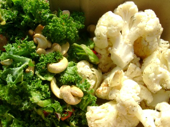 Avocado Kale Salad With Salted Cashews, Parmesan Cauliflower