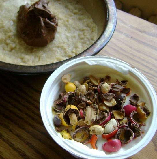 Vanilla Yogurt With Peanut Sunspires, Oatmeal With Chocolate Peanut Butter