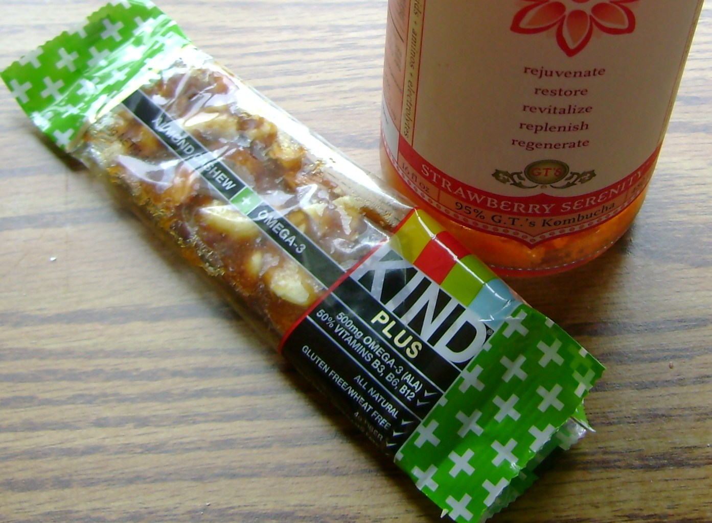 Cashew Almond KIND Bar And Strawberry Serenity Kombucha