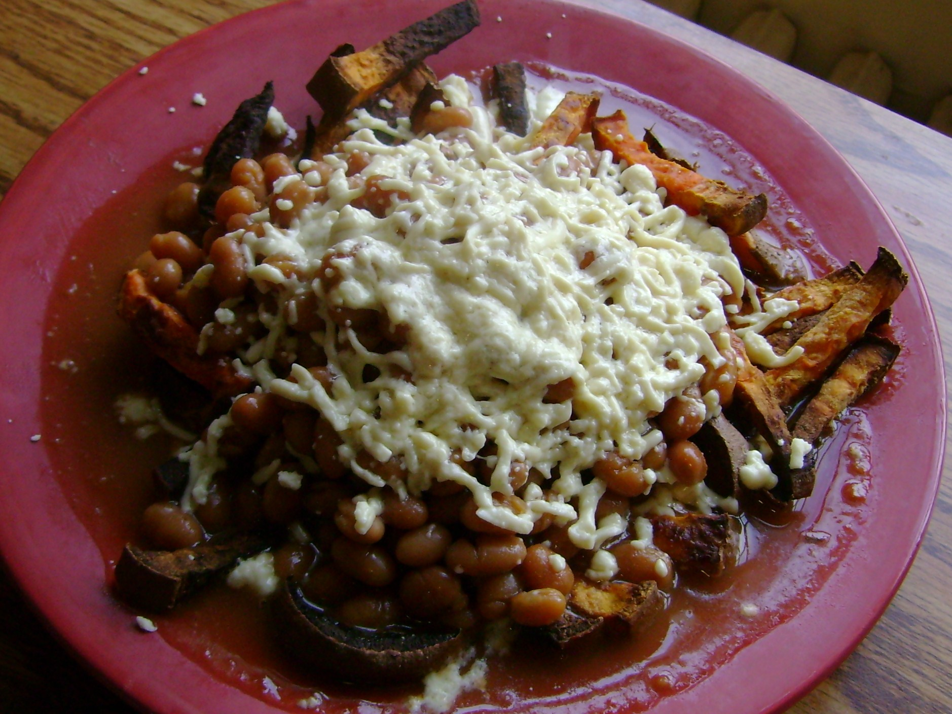 Sweet Potato Fries, BBQ Baked Beans, Daiya Mozzarella