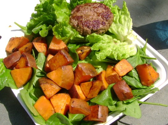 Burger, EVOO Sweet Potato Hash Over Spinach