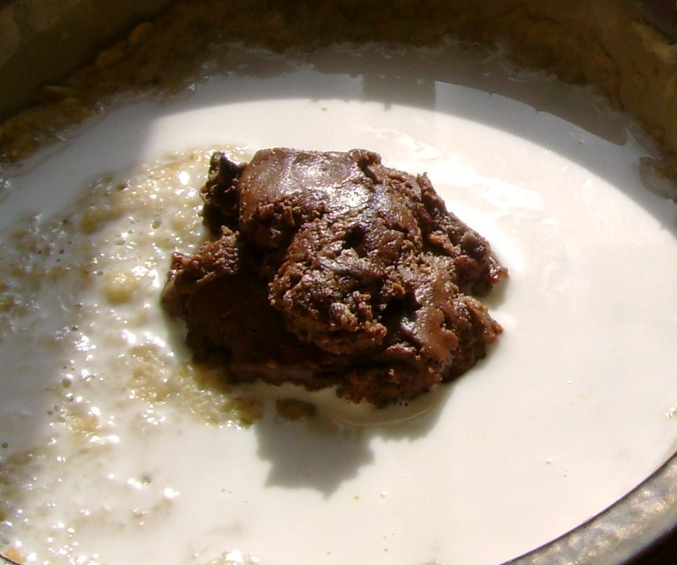 Oatmeal With Chocolate Almond Butter And Coconut Milk