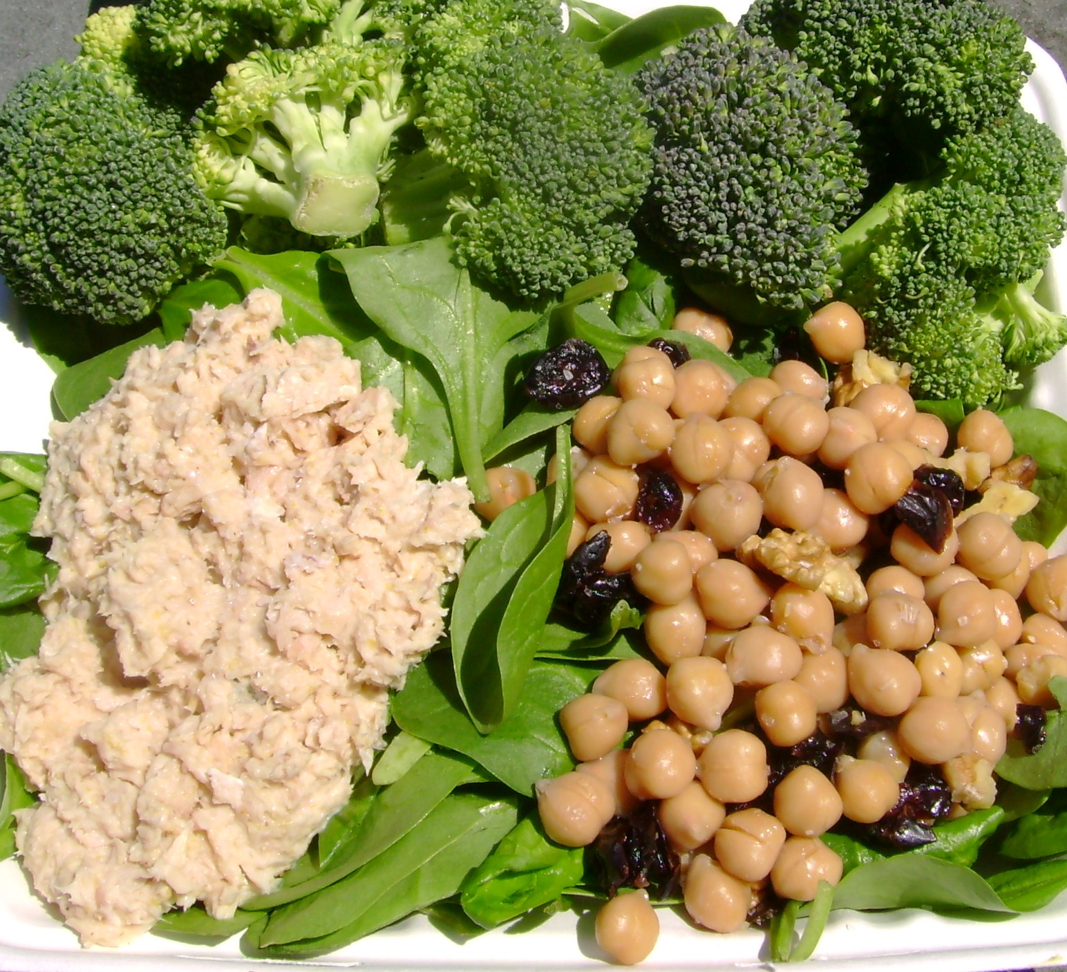 Tuna Salad With Mustard, Raw Broccoli, Chickpea Salad With Walnuts And Craisins